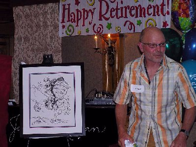 Farewell Retirement Party - Tom Ruppel - Former CTV Toronto News Cameraman - Beautiful caricature illustrations of freelance scientific illustrator and plein-air artist Patrice Stephens-Bourgeault