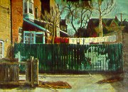C81001: Green Fence II - Beautiful city landscapes paintings of freelance scientific illustrator and plein-air artist Patrice Stephens-Bourgeault