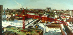 C90501: Red Crane - Toronto - Beautiful city construction landscapes paintings of freelance scientific illustrator and plein-air artist Patrice Stephens-Bourgeault