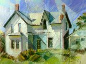D20901: Edenbridge Farm House - Noon Time - Beautiful city landscape paintings of freelance scientific illustrator and plein-air artist Patrice Stephens-Bourgeault