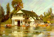 D30701: Beaverton Boat House - Beautiful city landscapes paintings of freelance scientific illustrator and plein-air artist Patrice Stephens-Bourgeault