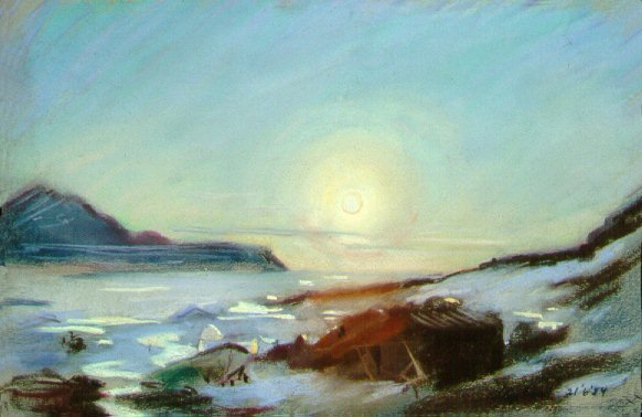 D40621: Arctic Summer Solstice - Midnight Sun - Qikiqtarjuaq (formerly called Broughton Island), Nunavut, Canada. Looking north onto the Baffin Island mainland. - Beautiful Arctic landscape paintings of freelance scientific illustrator and plein-air fine arts artist Patrice Stephens-Bourgeault