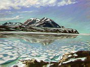 D40624a: Water Over Summer Ice - Beautiful Arctic landscapes paintings of freelance scientific illustrator and plein-air artist Patrice Stephens-Bourgeault