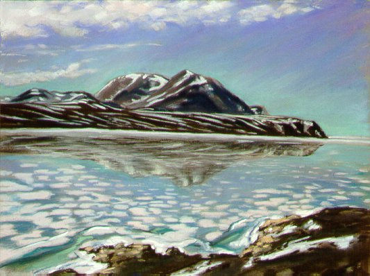 D40624a: Water Over Summer Ice - Qikiqtarjuaq (formerly called Broughton Island), Nunavut, Canada.  Looking out towards mainland Baffin Island - Beautiful Arctic landscape paintings of freelance scientific illustrator and plein-air fine arts artist Patrice Stephens-Bourgeault