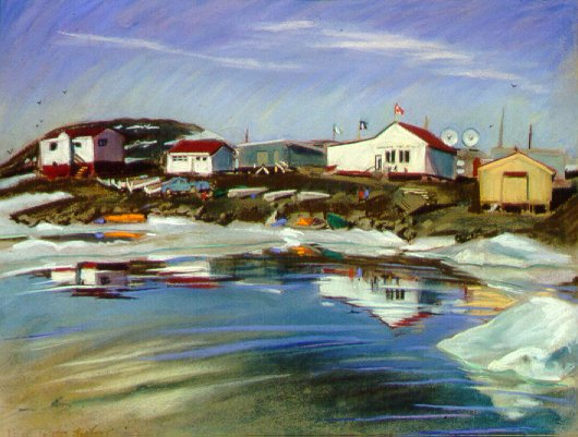 D40624b: The Hudson's Bay Company Store - Beautiful Arctic landscape paintings of freelance scientific illustrator and plein-air artist Patrice Stephens-Bourgeault