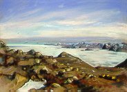 D4070c: Pointing Towards Cape Dyre - Beautiful Arctic landscape paintings of freelance scientific illustrator and plein-air artist Patrice Stephens-Bourgeault