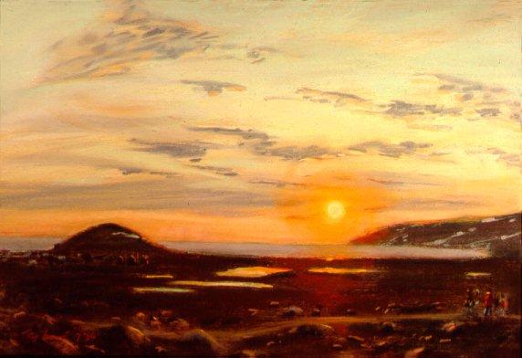 D4070f: A Walk in the Midnight Sun - Qikiqtarjuaq (A.K.A. Broughton Island), Nunavut, Canada - Beautiful Arctic landscape paintings of freelance scientific illustrator and plein-air fine arts artist Patrice Stephens-Bourgeault