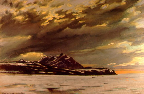 D40716: Midnight Sun Behind Clouds - Qikiqtarjuaq (formerly called Broughton Island), Nunavut, Canada - Beautiful Arctic landscape paintings of freelance scientific illustrator and plein-air fine arts artist Patrice Stephens-Bourgeault
