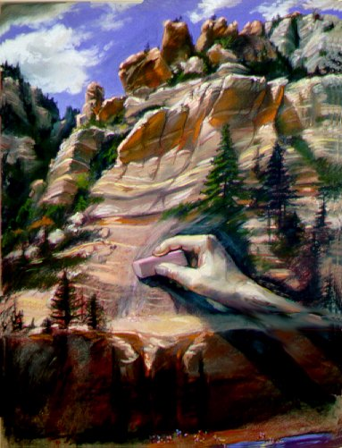 Most beautiful fine art paintings of freelance plein-air enviornmental artist, scientific illustrator and anthropologist artist Patrice Stephens-Bourgeault. Erasing On the Wall of Time - Sedona, Arizona