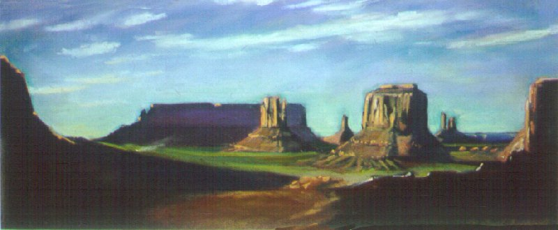 E50804: The Mittens - Monument Valley, Arizona, U.S.A.  - Beautiful Arizona landscape paintings of freelance scientific illustrator and plein-air fine arts artist Patrice Stephens-Bourgeault