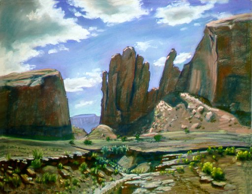 E50805: Arizona Pass - Monument Valley, Arizona, U.S.A. - Beautiful Arizona landscape paintings of freelance scientific illustrator and plein-air fine arts artist Patrice Stephens-Bourgeault