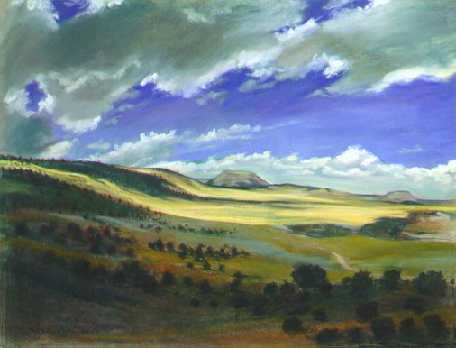 E50806: Skipping Like Lambs - Just before entering Grand Canyon, Arizona, U.S.A. - Beautiful Ontario landscape paintings of freelance scientific illustrator and plein-air fine arts artist Patrice Stephens-Bourgeault
