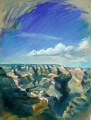 E50807: Arizona Grand Past - (Grand Canyon, Arizona)Beautiful Arizona landscapes paintings of freelance scientific illustrator and plein-air artist Patrice Stephens-Bourgeault