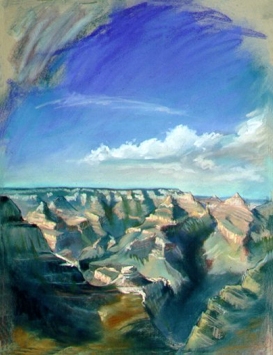 E50807: Arizona Grand Past - Grand Canyon, Arizona, U.S.A. - Looking through the lense of the present, into the strata of the past - Beautiful Arizona landscape paintings of freelance scientific illustrator and plein-air fine arts artist Patrice Stephens-Bourgeault