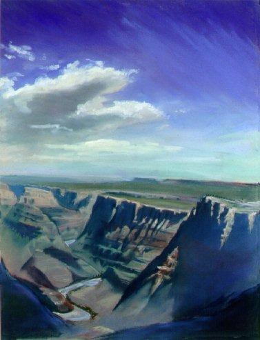 E50808: Heaven and Earth, Arizona - Grand Canyon, Arizona, U.S.A. - Beautiful Arizona landscape paintings of freelance scientific illustrator and plein-air fine arts artist Patrice Stephens-Bourgeault