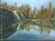 F00401: Frog Rock with Flooded Marsh - Beautiful Ontario landscapes paintings of freelance scientific illustrator and plein-air artist Patrice Stephens-Bourgeault