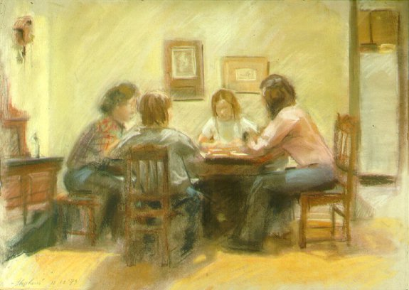 C91218: The Scrabble Players - Beautiful genre paintings of freelance scientific illustrator and plein-air fine arts artist Patrice Stephens-Bourgeault