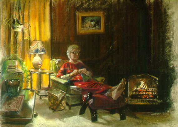 D11123: Mother Knitting - Beautiful genre paintings of freelance scientific illustrator and plein-air fine arts artist Patrice Stephens-Bourgeault
