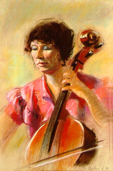 D30601: The Cello Player - Beautiful genre paintings of freelance scientific illustrator and plein-air fine arts artist Patrice Stephens-Bourgeault