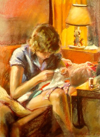 D30802: Malayah Sewing - Beautiful genre paintings of freelance scientific illustrator and plein-air fine arts artist Patrice Stephens-Bourgeault