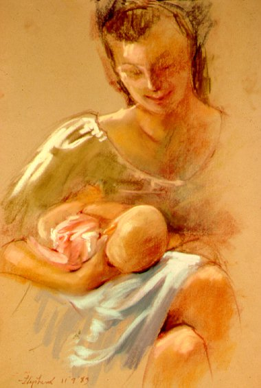 D30911: Mother and Child - Beautiful genre paintings of freelance scientific illustrator and plein-air fine arts artist Patrice Stephens-Bourgeault