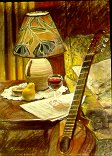 D21101: Guitar, Wine & Pear - Beautiful still life paintings of freelance scientific illustrator and plein-air artist Patrice Stephens-Bourgeault