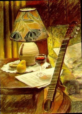 D21101: Guitar, Wine & Pear - Beautiful Still Life paintings of freelance scientific illustrator and plein-air fine arts artist Patrice Stephens-Bourgeault