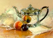 D30301: The Silver Teapot - Beautiful paintings of freelance scientific illustrator and plein-air artist Patrice Stephens-Bourgeault