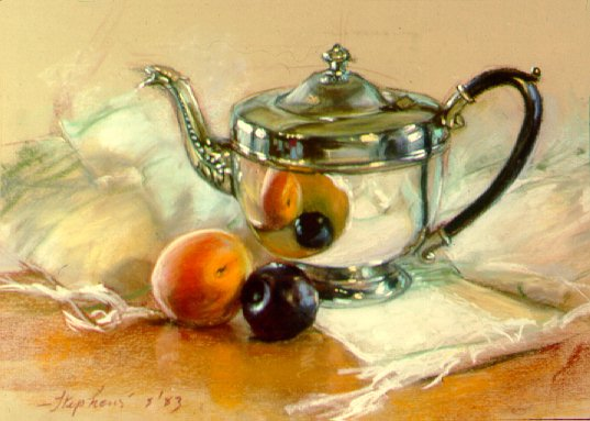 D30301: The Silver Teapot - Beautiful still life paintings of freelance scientific illustrator and plein-air fine arts artist Patrice Stephens-Bourgeault