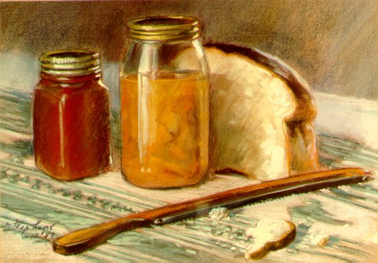 D31202: Bread and Preserves - Beautiful still life paintings of freelance scientific illustrator and plein-air fine arts artist Patrice Stephens-Bourgeault