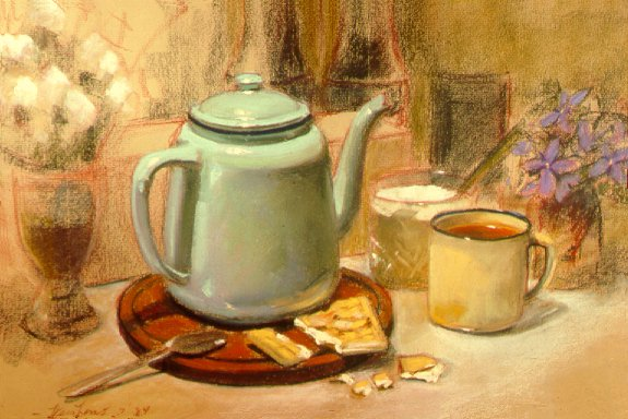 D4070i: Tea Biscuits with Arctic Flowers - Beautiful still life paintings of freelance scientific illustrator and plein-air fine arts artist Patrice Stephens-Bourgeault