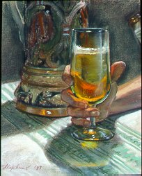 D7MM01: A Glass of Brew - Beautiful paintings of freelance scientific illustrator and plein-air artist Patrice Stephens-Bourgeault