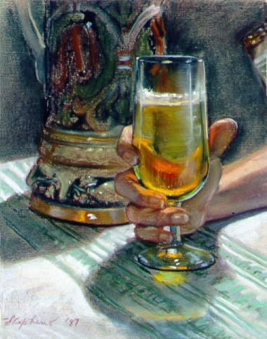 D7MM01: A Glass of Brew - Beautiful still life paintings of freelance scientific illustrator and plein-air fine arts artist Patrice Stephens-Bourgeault
