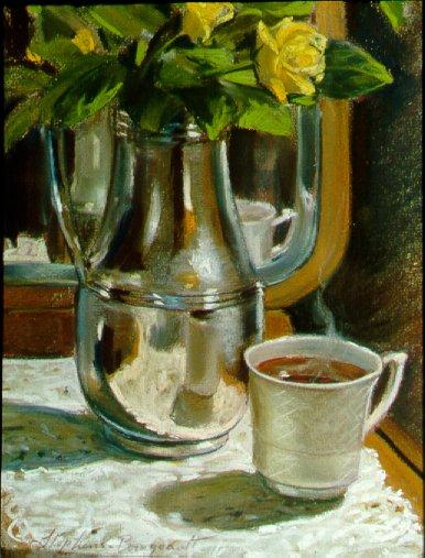 E7MM01: Mom's Tea - Beautiful still life paintings of freelance scientific illustrator and plein-air fine arts artist Patrice Stephens-Bourgeault
